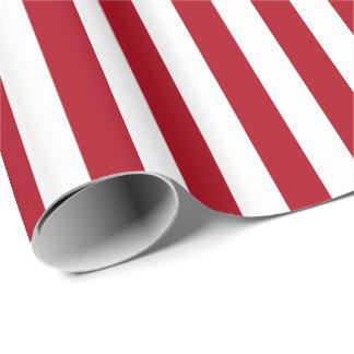 Rayure rouge foncé/blanche papier cadeau