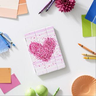 Rayure subtile de confettis fascinants roses doux protection iPad mini
