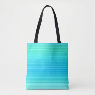Rayures abstraites de vert bleu de turquoise de tote bag