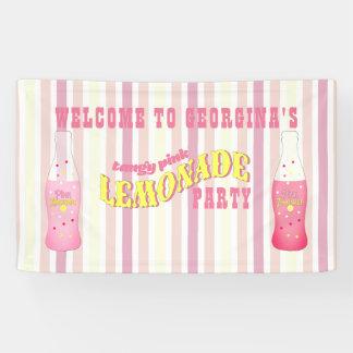Rayures, anniversaire rose de limonade banderoles