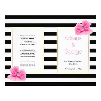Rayures blanches de noir rose de pavots épousant prospectus avec motif