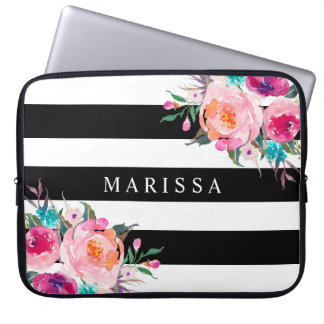 Rayures blanches noires florales d'aquarelle rose protection pour ordinateur portable