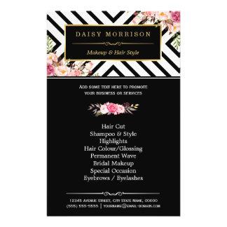 Rayures blanches noires florales vintages de salon prospectus 14 cm x 21,6 cm