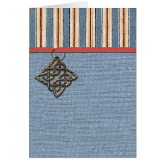 Rayures bleues armure et médaillon carte de vœux