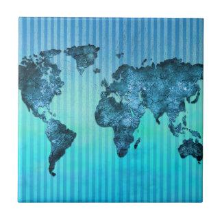 Rayures bleues au néon de la carte   du monde carreau