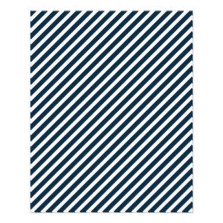 Rayures bleues blanches et de minuit de Noël de Prospectus 11,4 Cm X 14,2 Cm