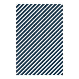 Rayures bleues blanches et de minuit de Noël de Prospectus 14 Cm X 21,6 Cm