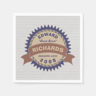 Rayures bleues de gris de logo de Brown de Serviette En Papier