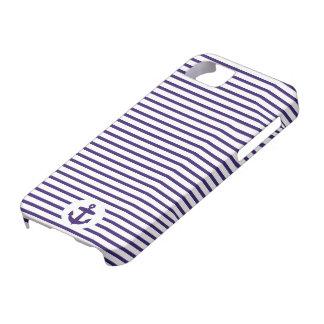 Rayures bleues de marin de bleu marine d'ancre et étui iPhone 5