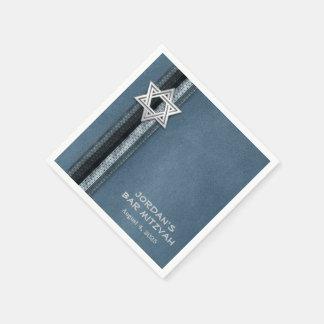 Rayures bleues de Mitzvah de barre Serviettes En Papier