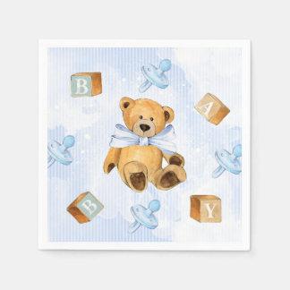 Rayures bleues et baby shower de nounours serviettes en papier