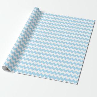 Rayures bleues et blanches de bébé de zigzag de papier cadeau noël