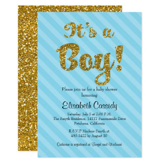 Rayures bleues et invitation de baby shower de