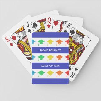 Rayures bleues et nom fait sur commande des jeu de cartes