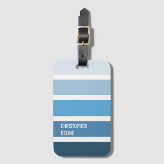Rayures bleues fraîches étiquettes bagages