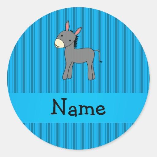 Rayures bleues personnalisées d'âne nommé autocollant rond