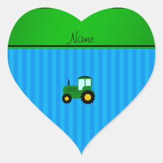 Rayures bleues personnalisées de tracteur vert autocollant