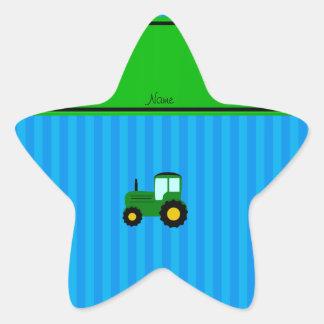 Rayures bleues personnalisées de tracteur vert sticker en étoile