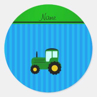 Rayures bleues personnalisées de tracteur vert autocollant rond