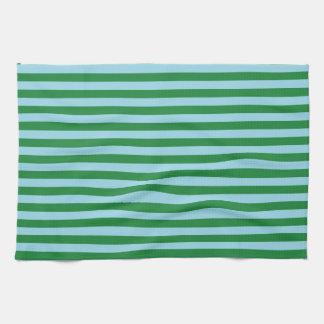 Rayures bleues vert-foncé et en pastel serviette pour les mains