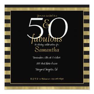 Rayures chics 50 d'or et de noir et fabuleux carton d'invitation  13,33 cm
