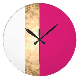 rayures claires élégantes de blanc de rose d'or grande horloge ronde