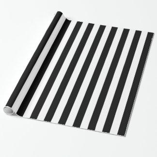Rayures classiques noires verticales papier cadeau