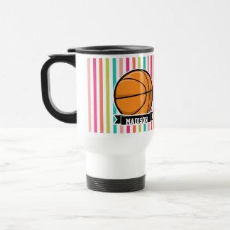 Rayures colorées ; Basket-ball Mug De Voyage En Acier Inoxydable