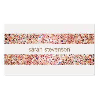 Rayures colorées de confettis d'amusement mignon carte de visite standard