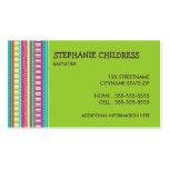Rayures colorées gardant les enfants le carte de v modèle de carte de visite