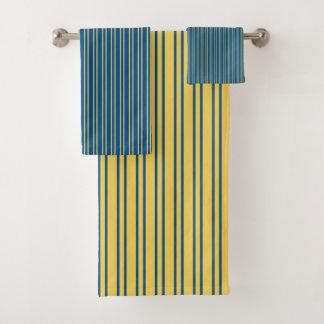 Rayures dans bleu et jaune - ensemble de serviette