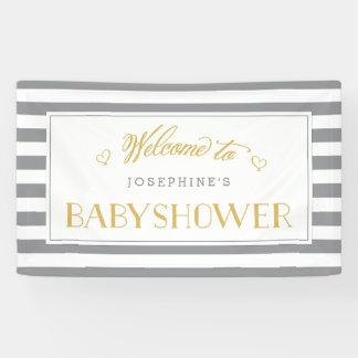 Rayures de blanc gris avec la bannière de baby