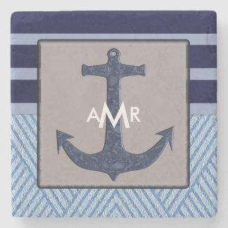 Rayures de bleu marine de l'ancre et du bateau, dessous-de-verre en pierre