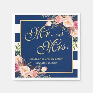 Rayures de bleu marine de M. et de Mme Floral Gold Serviette Jetable