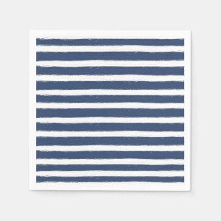 Rayures de bleu marine et de blanc serviettes jetables