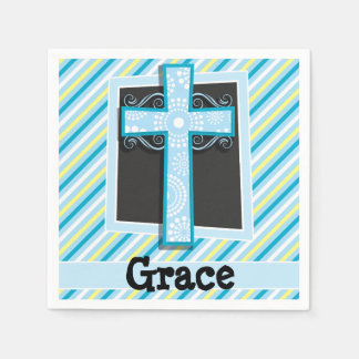 Rayures de croix, bleues et jaunes bleues serviettes jetables