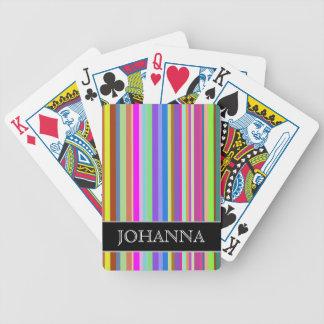 Rayures de diverses couleurs + Nom fait sur Jeu De Cartes