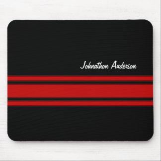 Rayures de emballage rouges et noires modernes ave tapis de souris