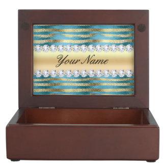 Rayures de feuille d'or de Faux sur métallique Boîtes À Souvenirs