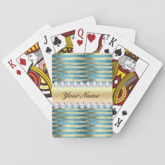 Rayures de feuille d'or de Faux sur métallique Cartes À Jouer