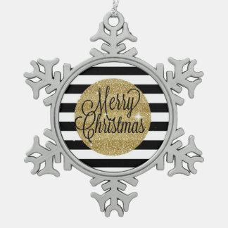 Rayures de Joyeux Noël et ornement d'or