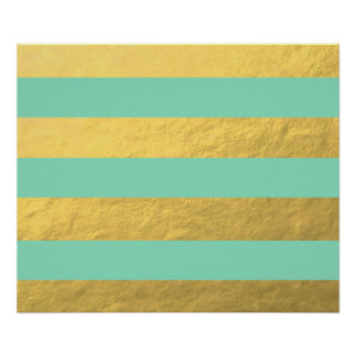 Rayures de menthe et de feuille d'or imprimées poster
