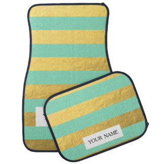 Rayures de menthe et de feuille d'or imprimées tapis de voiture