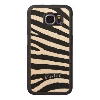 Rayures de motif de zèbre, noires et blanches, coque de téléphone en bois