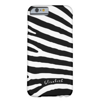 Rayures de motif de zèbre, noires et blanches, coque iPhone 6 barely there