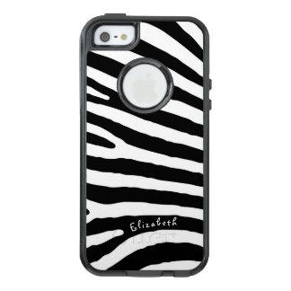 Rayures de motif de zèbre, noires et blanches, coque OtterBox iPhone 5, 5s et SE