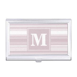 Rayures de quartz rose de monogramme boîtier pour cartes de visite