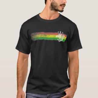 Rayures de reggae de Rasta avec le lion couronné T-shirt