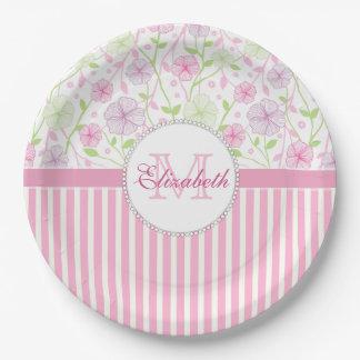 Rayures de rose en pastel, de pourpre, de fleurs, assiettes en papier