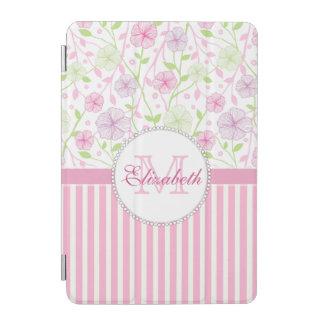 Rayures de rose en pastel, de pourpre, de fleurs, protection iPad mini